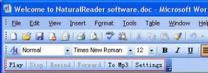 NaturalReader Text to Voice Software integrates itself into existing office software